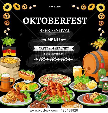 German annual oktoberfest beer festival traditional dishes menu on black chalkboard background poster flat abstract vector illustration