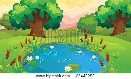 Vector cartoon game background of pond near the forest