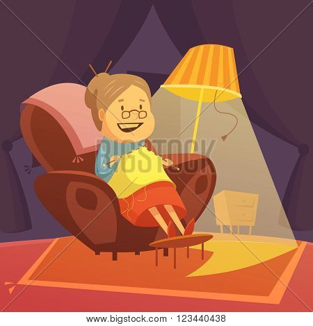 Grandmother knitting in an armchair background with lamp and carpet cartoon vector illustration
