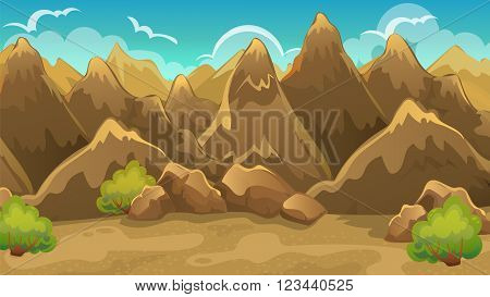Vector cartoon game background of mountain landscape with shrub