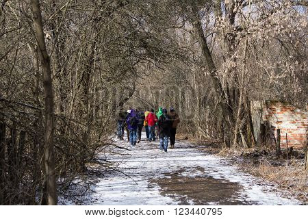 UKRAINE. Chernobyl Exclusion Zone. - 2016.03.19. Tourists strolling through an abandoned village Chernobyl Exclusion Zone
