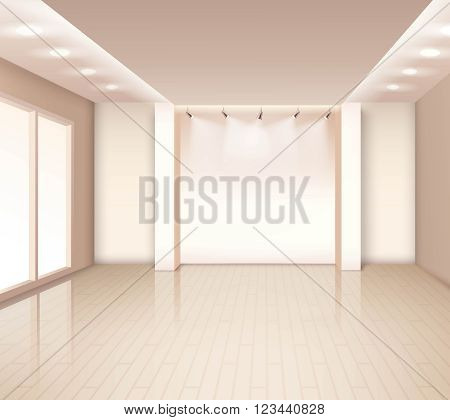 Empty  modern room interior with french windows illumination at ceiling in pale rose color vector illustration