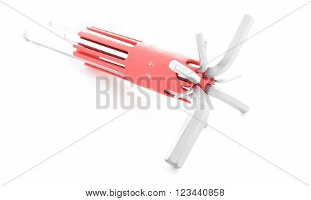 Allen wrench steel tool for fix isolated on white background