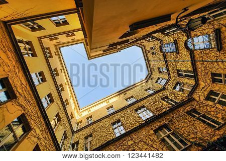 The view from the bottom at the courtyard Wroclaw Poland