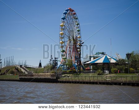 Buenos Aires Argentina - 29th October 2015: Argentine A view off a fairground in the River Plate delta.
