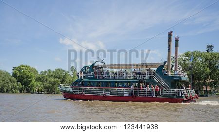 Buenos Aires Argentina - 29th October 2015: Pleasure boat seen during a boat trip in the River Plate delta.