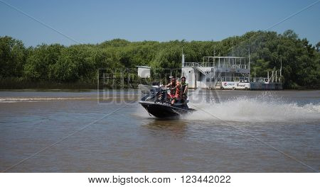 Buenos Aires Argentina - 29th October 2015: Jet ski seen during a boat trip in the River Plate delta.