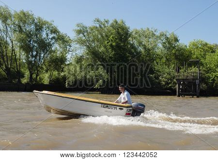 Buenos Aires Argentina - 29th October 2015: Boat seen during a boat trip in the River Plate delta.
