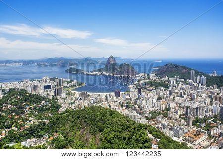 Sugarloaf Mountain and Rio de Janeiro cityscape Brazil.