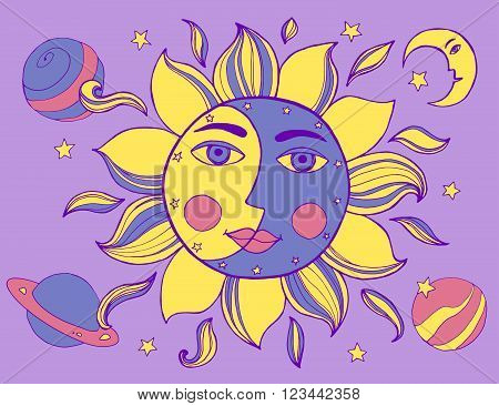 Sun And Moon In One Face. Alchemy Vector Illustration