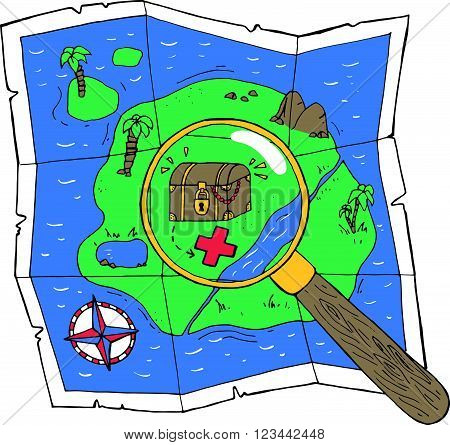A Map With A Treasure And A Loupe