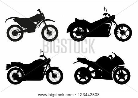 motorcycle set icons black outline silhouette vector illustration isolated on white background