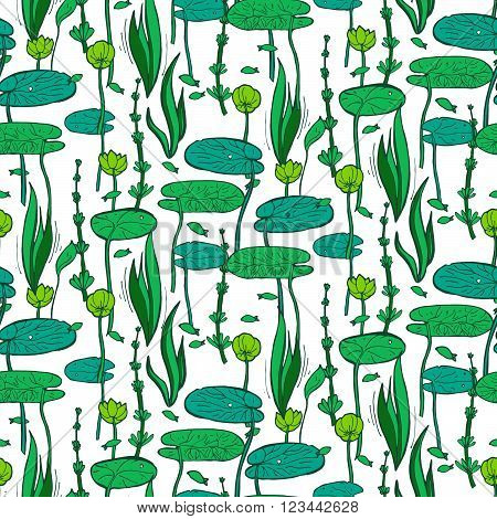 Seamless Pattern With Water And Underwater Plants