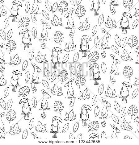 Seamless Pattern With Parrots And Tucans.