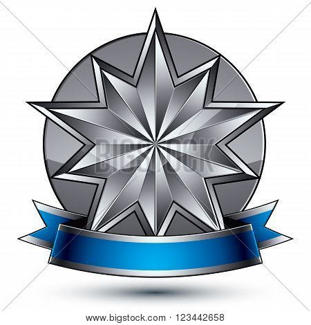 3D Vector Classic Royal Symbol, Sophisticated Silver Round Emblem With Polygonal Star Isolated On Wh