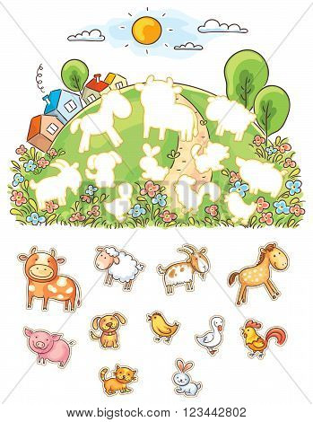 Animals and their shapes matching game colorful cartoon