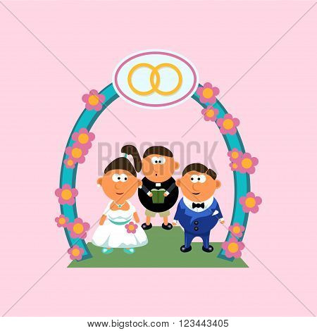 illustration of groom and bride ceremony with pastor