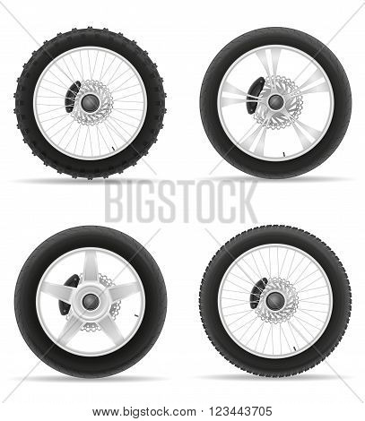 motorcycle wheel tire from the disk set icons vector illustration isolated on white background