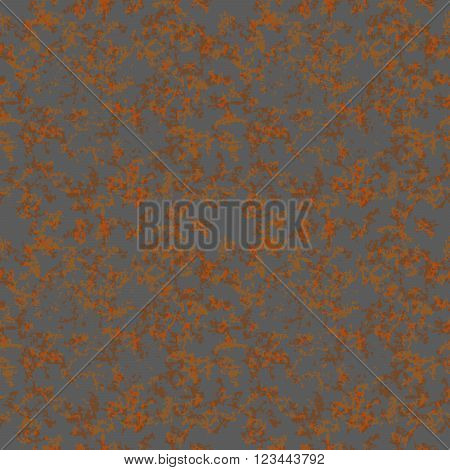 Brown rust texture on gray metal seamless pattern