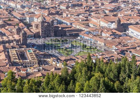 Aerial View Of Plaza De Armas, Cusco, And Andes Mountains In Peru By  Day