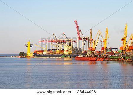 Trading seaport with cranes in Odessa, Ukraine