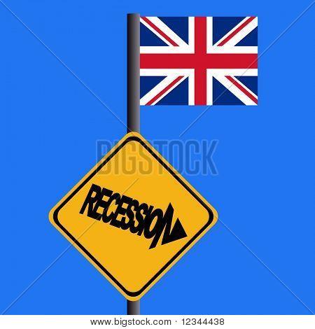 Recession warning sign and British flag illustration JPEG