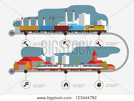 Rail way infographic time line. Passenger and cargo transportation. Industry and train transportation concept. Vector illustration