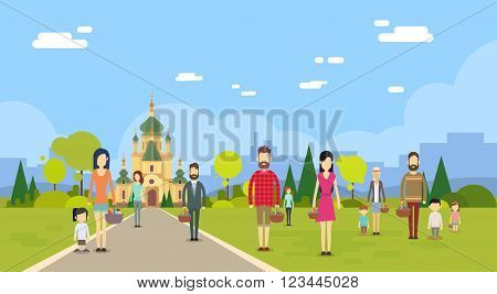 People Group Go To Church Chapel Building Copy Space Flat Vector Illustration