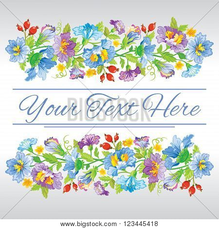 Vector illustration. Template card with spring floral design