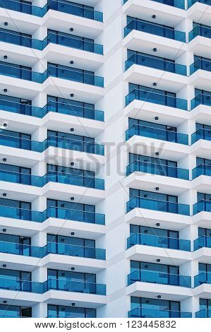 High Rise Building Facade with Balcony .