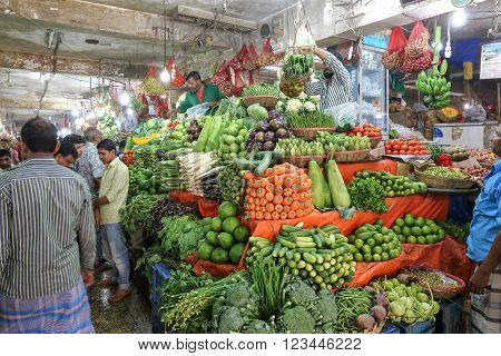Dhaka Bangladesh - February 17 2016: Vegetable market at Banani Bazar In Bangladesh winter season is when wide range of fresh vegetable produce is available in market.