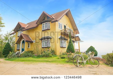 Yellow house landmark in Pai Mae Hong Son ,Thailand