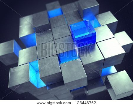 Technology business internet and communication concept - cube assembling from blocks.3D rendering