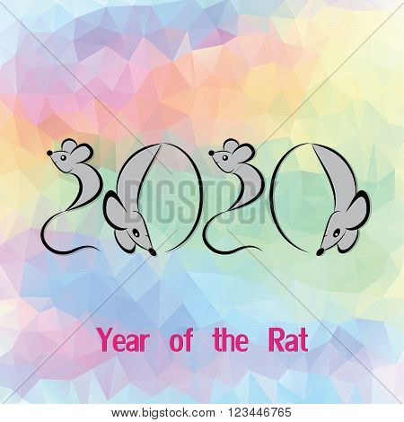 Rat mouse chinese horoscope animal sign. The vector art image in decorative style