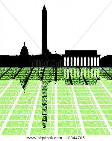 Washington DC Skyline with text illustration