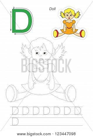 Vector exercise illustrated alphabet. Learn handwriting. Page to be traced. Complete english alphabet. Tracing worksheet for letter D