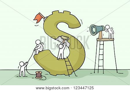Sketch of dollar sign with working little people. Doodle cute miniature of construction green dollar and preparing for the big profit. Hand drawn cartoon vector illustration for business design.