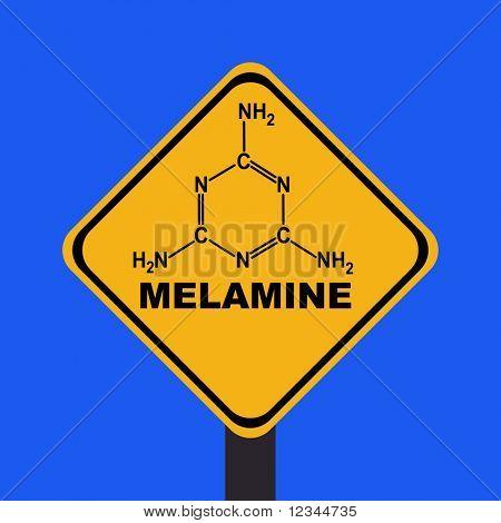 Melamine warning sign with chemical formula illustration JPEG