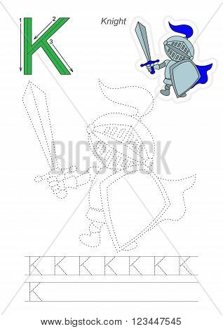 Vector exercise illustrated alphabet. Learn handwriting. Page to be traced. Complete english alphabet. Tracing worksheet for letter K