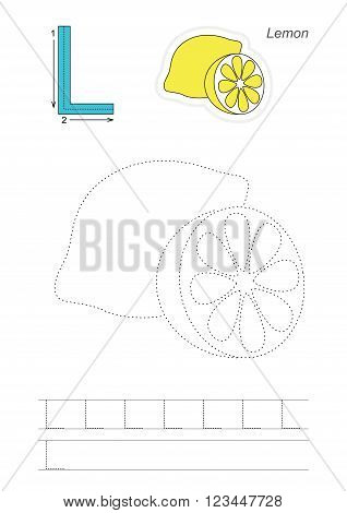 Vector exercise illustrated alphabet. Learn handwriting. Page to be traced. Complete english alphabet. Tracing worksheet for letter L