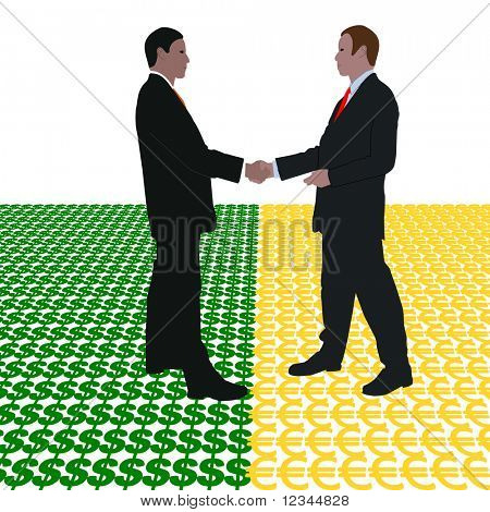 business men meeting with dollar and euro symbol illustration JPEG