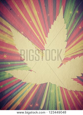 Grunge hemp leaf background