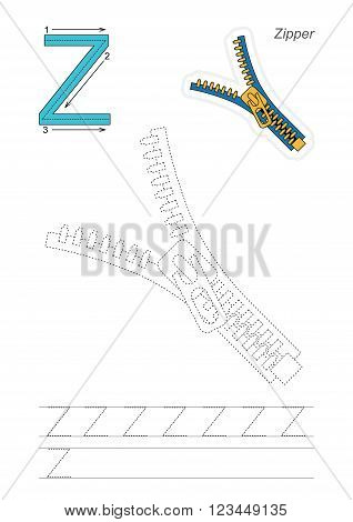 Vector exercise illustrated alphabet. Learn handwriting. Page to be traced. Complete english alphabet. Tracing worksheet for letter Z