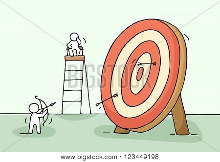 Sketch of archer and target with little people. Doodle cute miniature of circle target and preparing for target hit. Hand drawn cartoon vector illustration for business design.