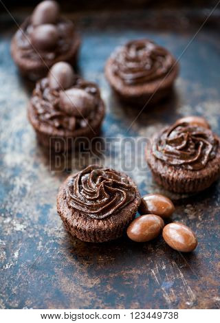 Chocolate cupcakes decorated with chocolate frosting for Easter