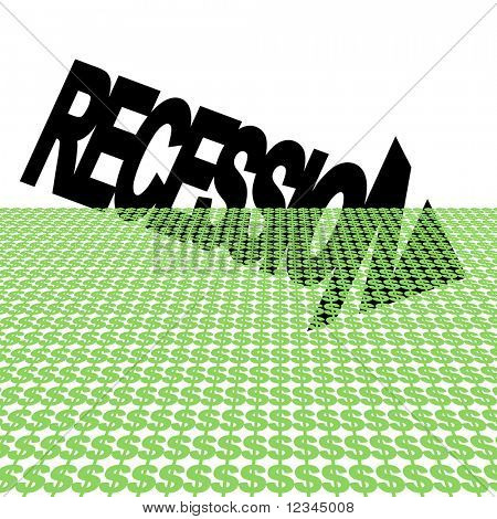 Recession text arrow with dollar symbol foreground JPEG