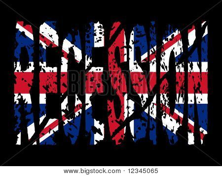 grunge Recession text with British flag illustration JPEG