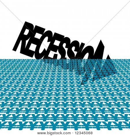 Recession text arrow with yen symbol foreground JPEG