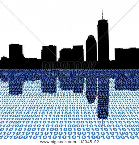 Boston skyline with binary foreground illustration