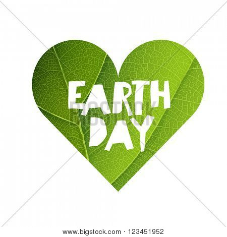 Earth Day Concept Design. Happy Earth Day logotype template. Green Leaf Veins Texture Heart Shaped. Isolated template.